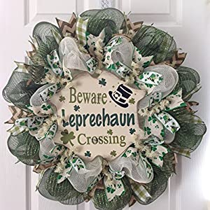 Beware Leprechaun Crossing St Patrick's Day Deco Mesh Wreath 13