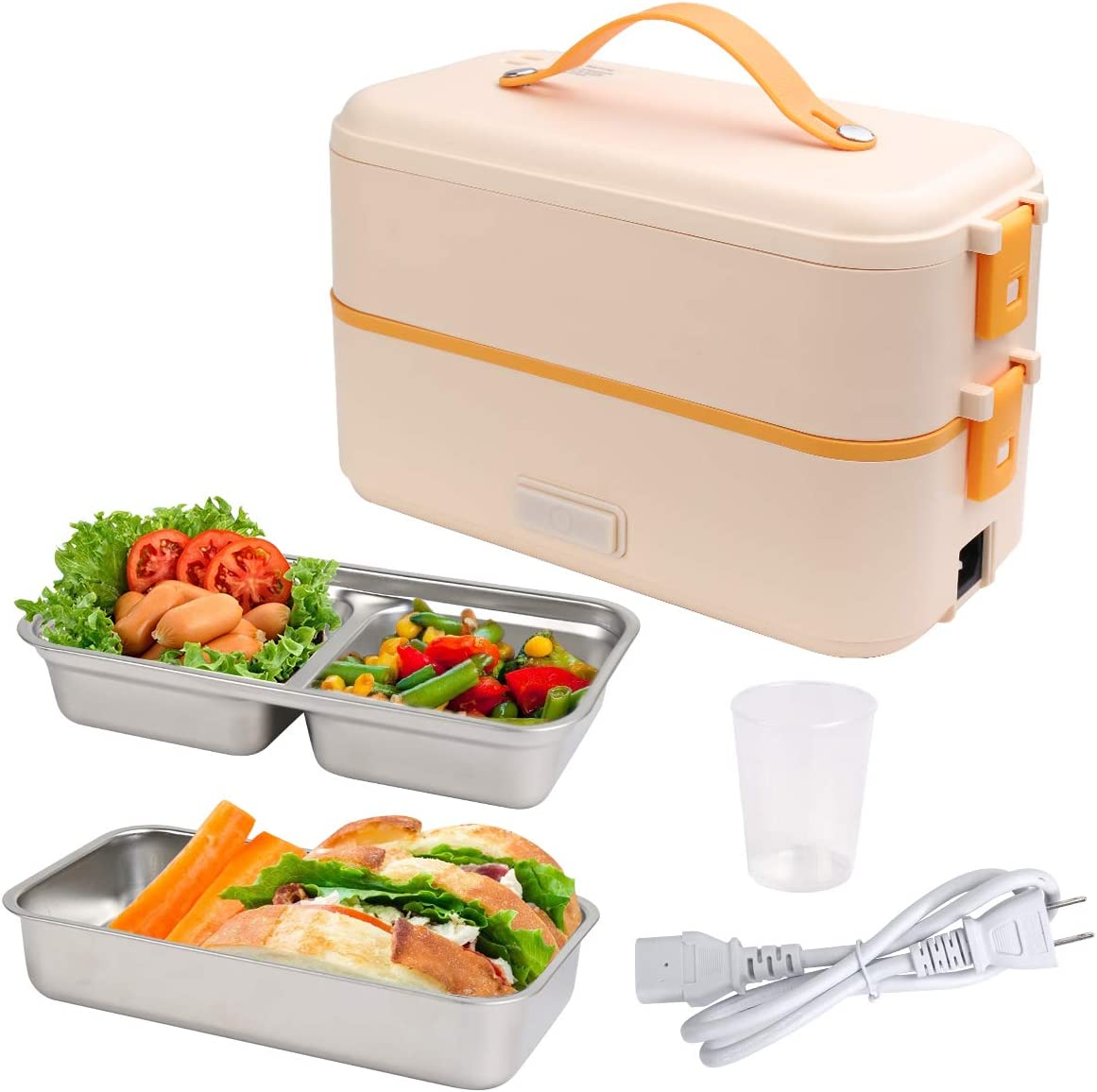 VAlinks Electric Lunch Box, Portable Electric Food Warmer Heater Lunch Box, 2 Layers Steamer Lunch Box for Home Office School Travel Camping - 800ML/110V (Yellow)