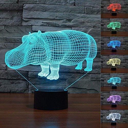 - SUPERNIUDB 3D Hippo Night Light LED USB 7 Color Change LED Table Lamp Xmas Toy Gift
