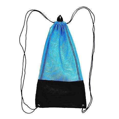 Mesh Drawstring Dive Storage Bag for Scuba Gear Dive Fins Goggles Mask Green