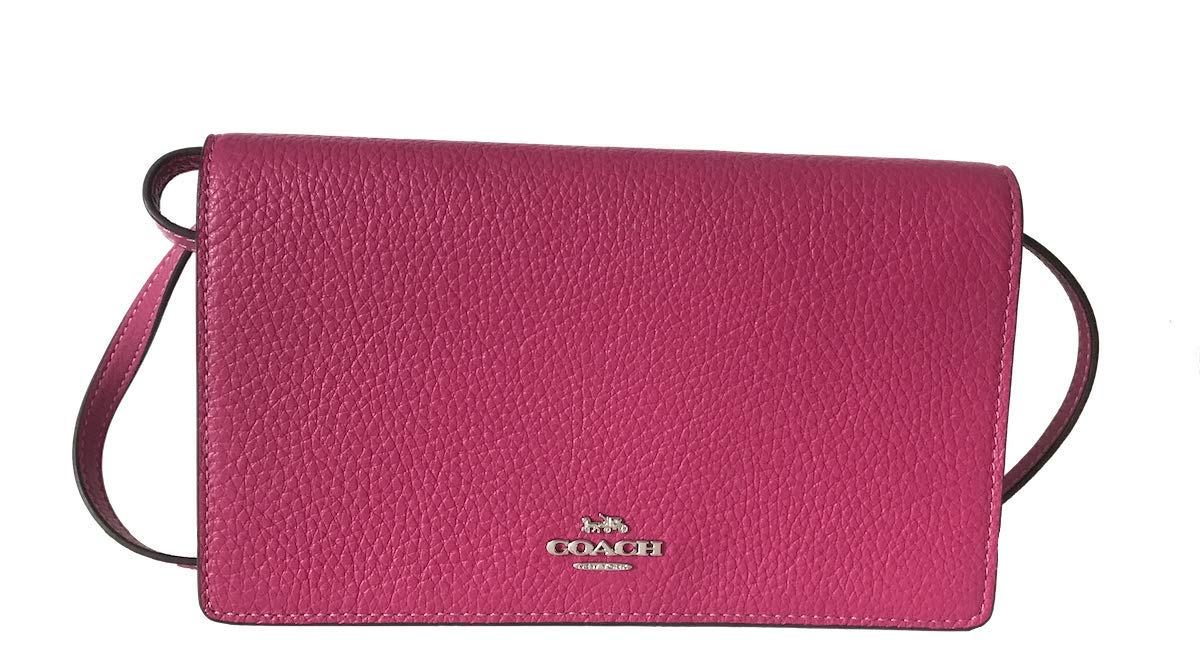 Coach Foldover Clutch Wallet Pebbled Leather Crossbody Bag (Cerise)