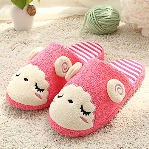 GreatParagon Paragon Women Men plush slippers House Cotton-padded Warm Slippers Indoor Anti-Slip Shoes Cute Sheep Design 01 Rose red LoTPVaw5