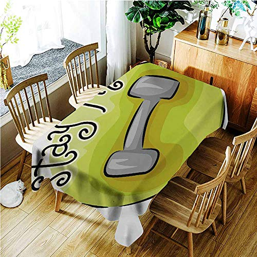 TT.HOME Tablecloth for Kids/Childrens,Fitness Stay Fit Circular Icon with a Dumbbell Cartoon Style Fun Illustration,Table Cover for Dining,W50x80L,Pale Green Grey Black