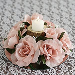 BalsaCircle 8 Silk Roses Candle Rings - Artificial Flowers Wedding Party Centerpieces Arrangements Bouquets Supplies 9