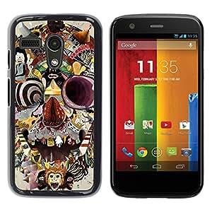 Shell-Star Arte & diseño plástico duro Fundas Cover Cubre Hard Case Cover para Motorola Moto G1 / X1032 ( Monkey Circus Clown Skull Crazy Mind )