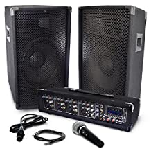 Y-DJ PA Speaker System Kit With 250 watt Power Amplifier, 4 Channel Audio Mixer, Pair of speakers, Microphone & Cables