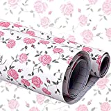 iHappy Self-Adhesive Shelf Liner Drawer Paper,17x78 Inches, Pink Peony