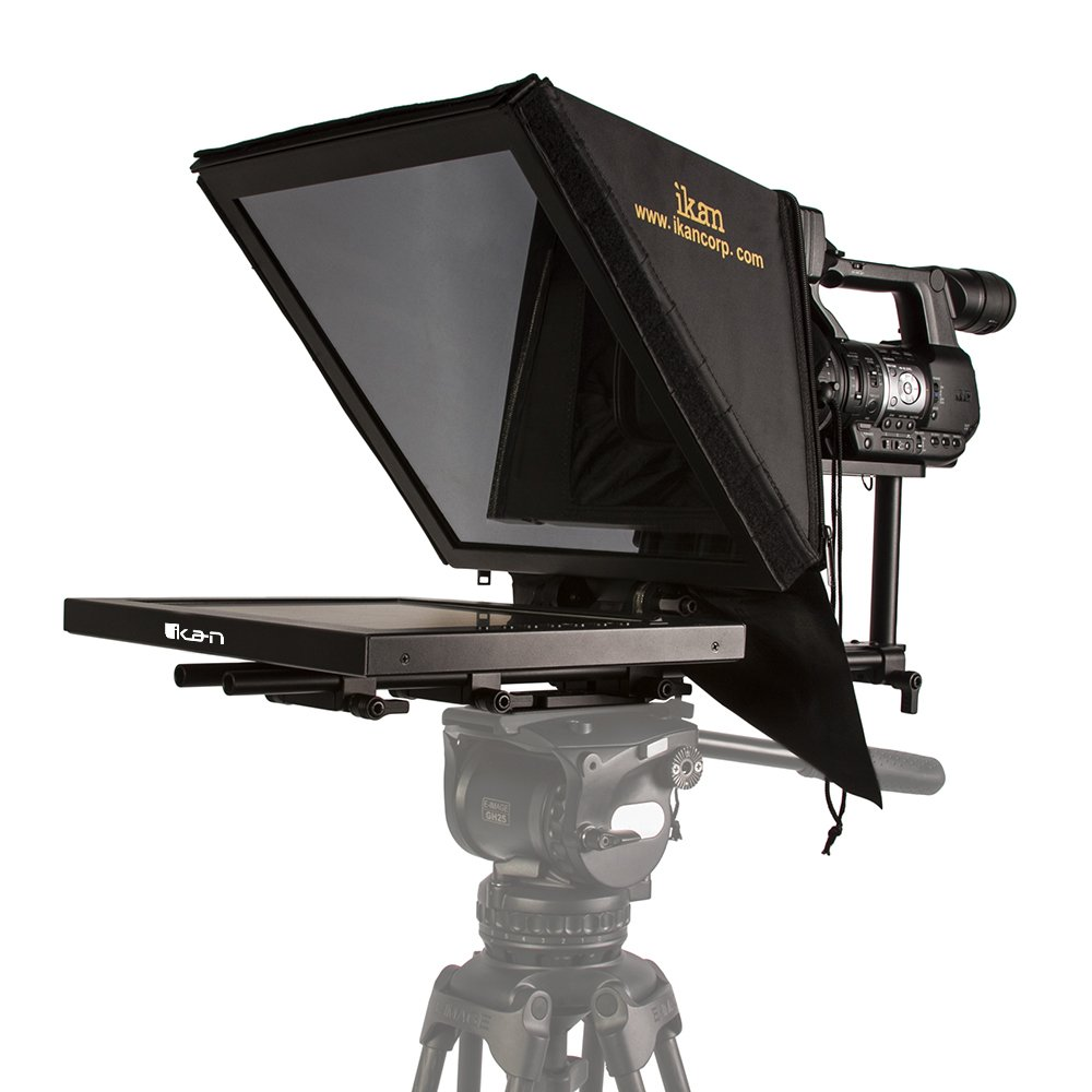 Ikan15-inch High Bright Beam Splitter Teleprompter, Rod Based, Adjustable Frame, Extreme Clarity (PT3500-HB) - Black by Ikan