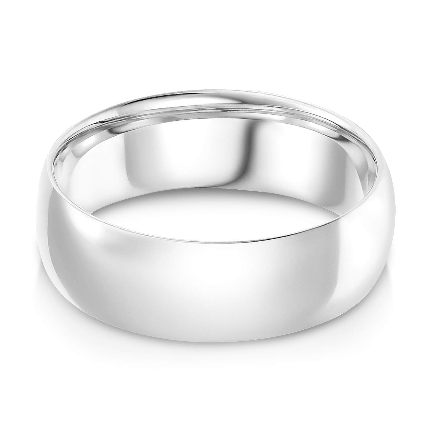 Ioka - 14k Solid White Gold 7mm Plain Comfort Fit Wedding Band - size 10.5