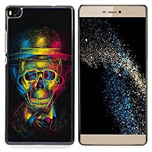 - Retro Skull Gentleman Theatre Art - - Snap-On Rugged Hard Cover Case Funny HouseFOR HUAWEI P8