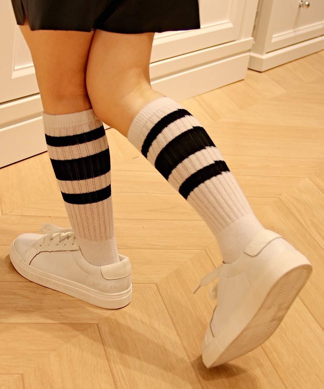 Baby Black/&White/&White,13.5in//34cm Toddler /& Child 3 Pairs Girls Knee High Tube Socks for Boys 4-8Years