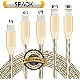 Nutmix iPhone Cable 5Pack 3FT 6FT 6FT 10FT 10FT Nylon Braided Certified Lightning to USB iPhone Charger for iPhone X/8/8 Plus/7/7 Plus/6/6 Plus/6S/6S Plus,iPad,iPod Nano 7 - Gold