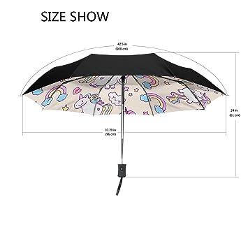 Bennigiry Rainbow Unicornio resistente al viento y resistente al agua compacto paraguas de viaje – Auto