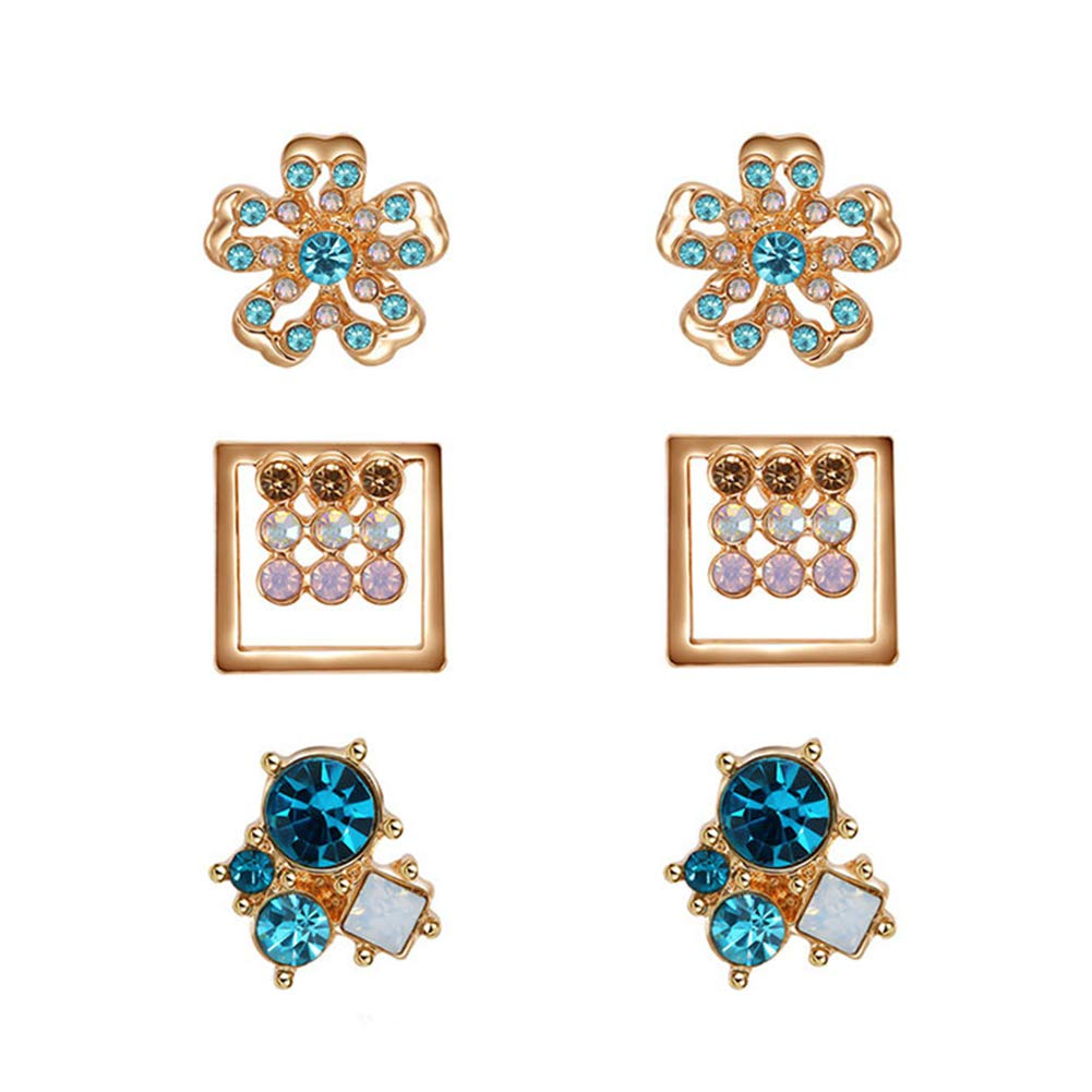 Polytree Earrings, 3 Pairs Rhinestone Flower Square Ear Studs Set for Womens Girls Charm Accessories
