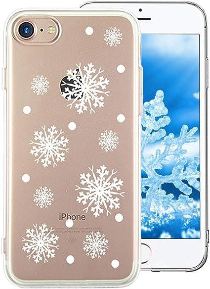 Cestor Coque Étui pour iPhone 6/6S,Mode Cristal Noël Flocon de Neige Série Arrière Couverture Housse Antichoc Transparent Ultra Mince Doux Silicone ...