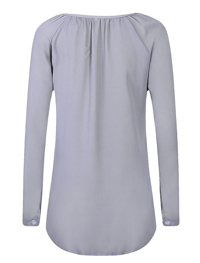 Verano Mujer Cuello V Colores Lisos Blusa Moda Elegantes Botón Gasa Camisetas de Manga Larga Casual Loose Camisas Remata: Amazon.es: Ropa y accesorios