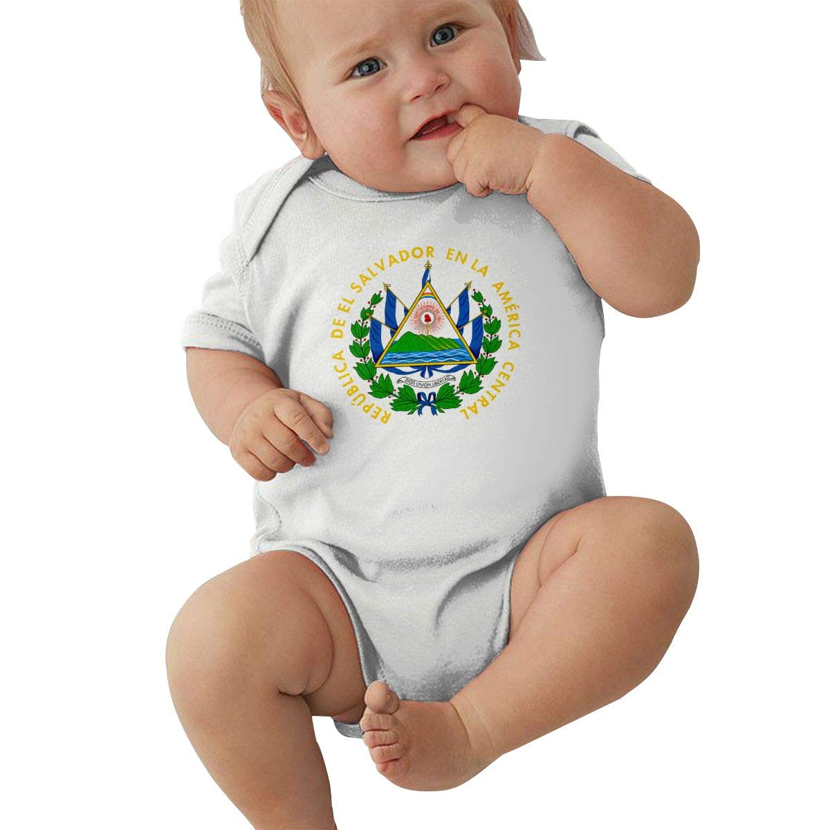 Dfenere El Salvador Coat of Arms Jeans Fashion Newborn Baby Short Sleeve Bodysuit Romper Infant Summer Clothing Black