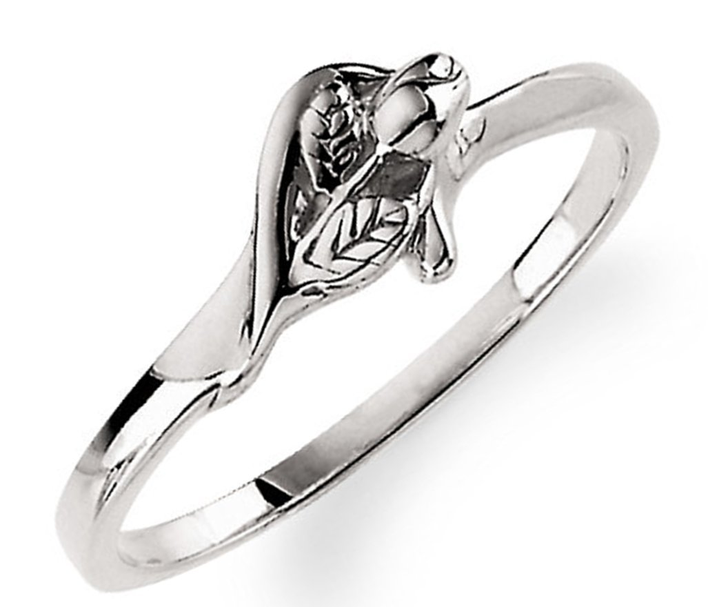 'Unblossomed Rose' Rhodium-Plated 14k White Gold Chastity Ring, Size 6