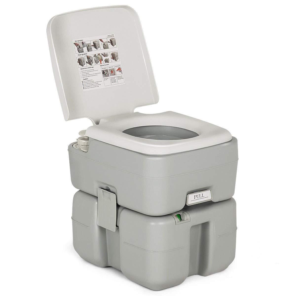 5.3 Gallon Portable Travel Toilet with Piston Pump Flush Outdoor Pee Seat Tank