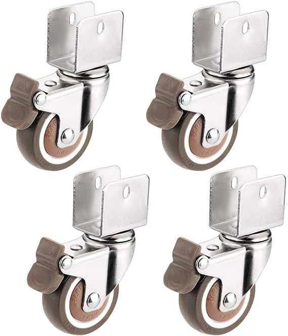 16mm 4 Ruedas para Muebles con Freno Ruedas Giratorias de 2 Pulgadas Silenciosas Tipo U F/érula Caster Pivotantes para Carro,Mesa,Muebles de Paleta,Maquinaria Peque/ña,Cama para Ni/ños