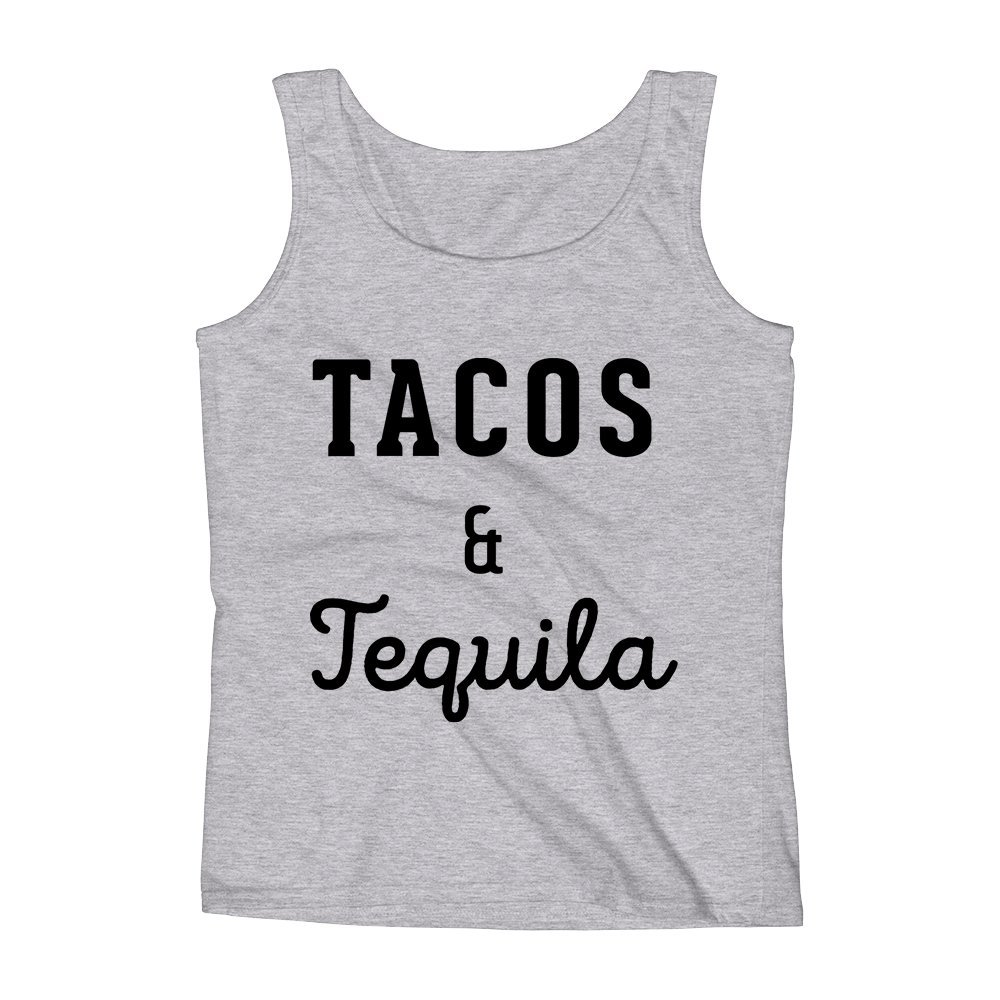 Mad Over Shirts Tacos and Tequila Foodholic Party Meme Unisex Premium Tank Top