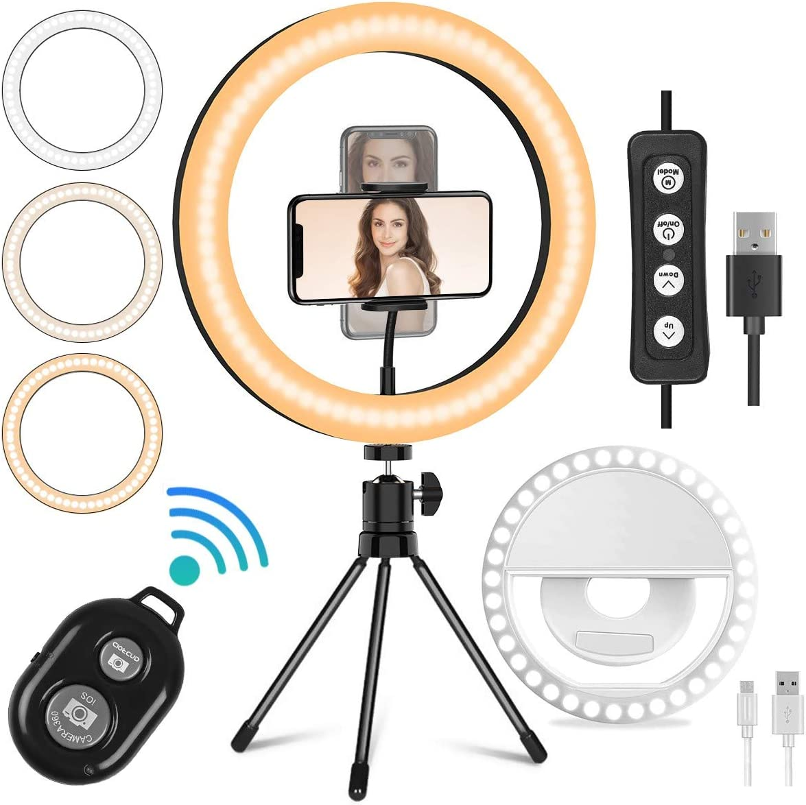 Mansso 10 LED Ring Light Set Rechargeable Selfie Ring Light Clip /& Remote Shutter /& Desktop Tripod Stand /& Phone Holder for Live Stream//Makeup//YouTube with 3 Light Modes /& 10 Brightness Level