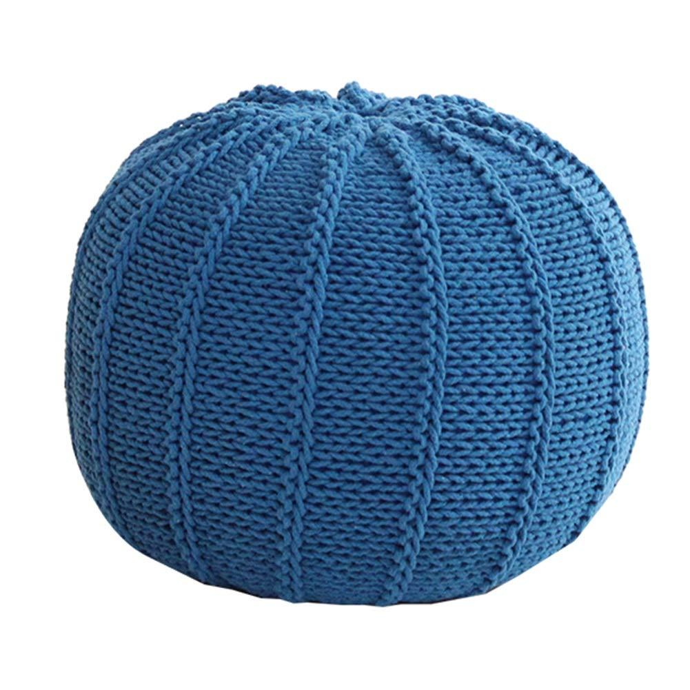bluee 4835cm Stool Creative Fashion Sofa Bench Hand-Woven Cotton Line Cushion Stool Multi-Function Household WEIYV (color   bluee, Size   48  35cm)