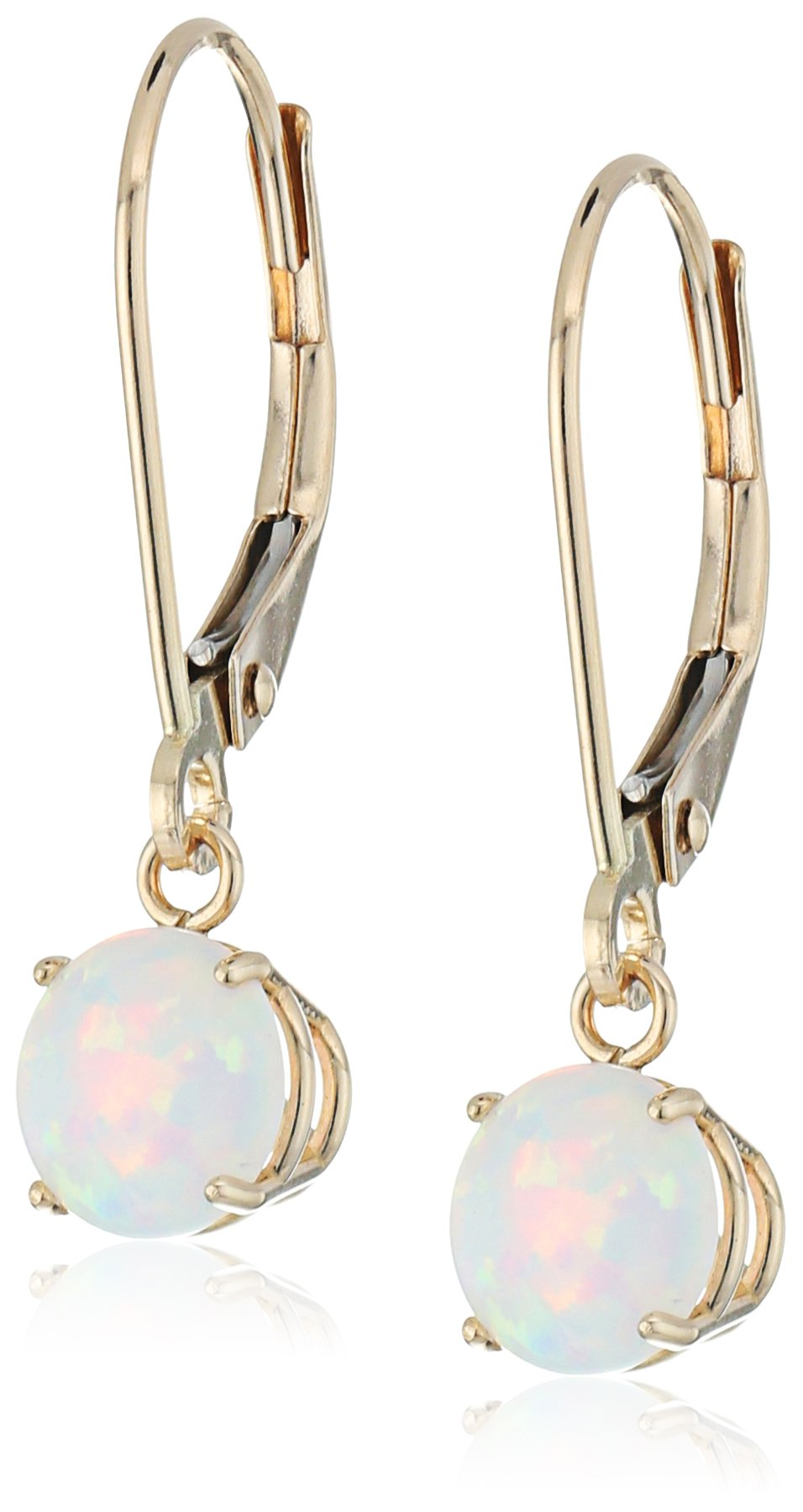 10k Yellow Gold Round Checkerboard Cut Created Opal Leverback Earrings (6mm)