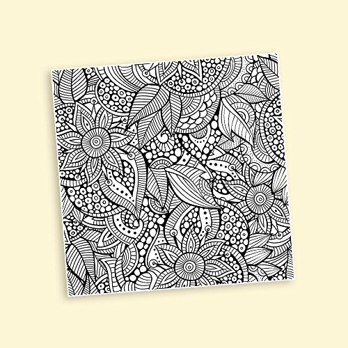 Flower Pattern Coloring Canvas Stretched