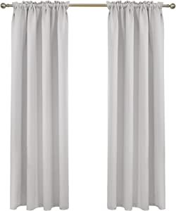 Deconovo Greyish White Blackout Curtains Rod Pocket Curtain Panels Thermal Insulated Curtains for Sliding Door 52 W x 95 L Inch 2 Panels