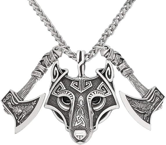 Mujer Collar de cuero Gargantilla Colgante lobo de acero inoxidable Necklace