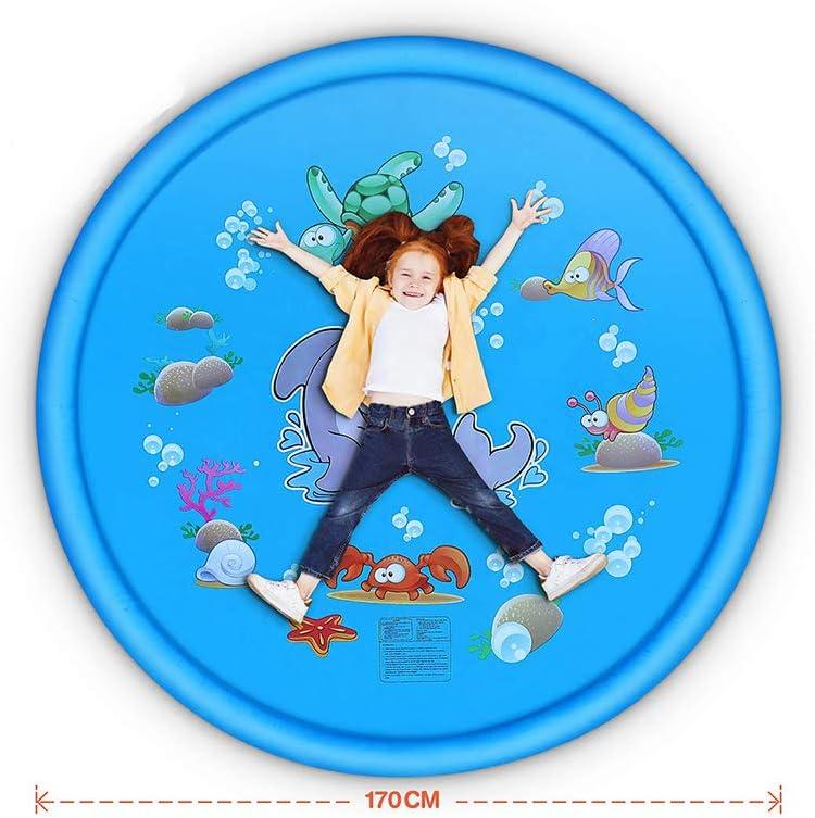 Beach Lawn Play Pad Childrens Sprinkler Pool 68 Splash Play Mat Wading Swimming Pool Outdoor Games Water Mat Toy MEMOVAN Sprinkler Splash Pad for Kids Backyard Fountain Play Mat for Boys Girls