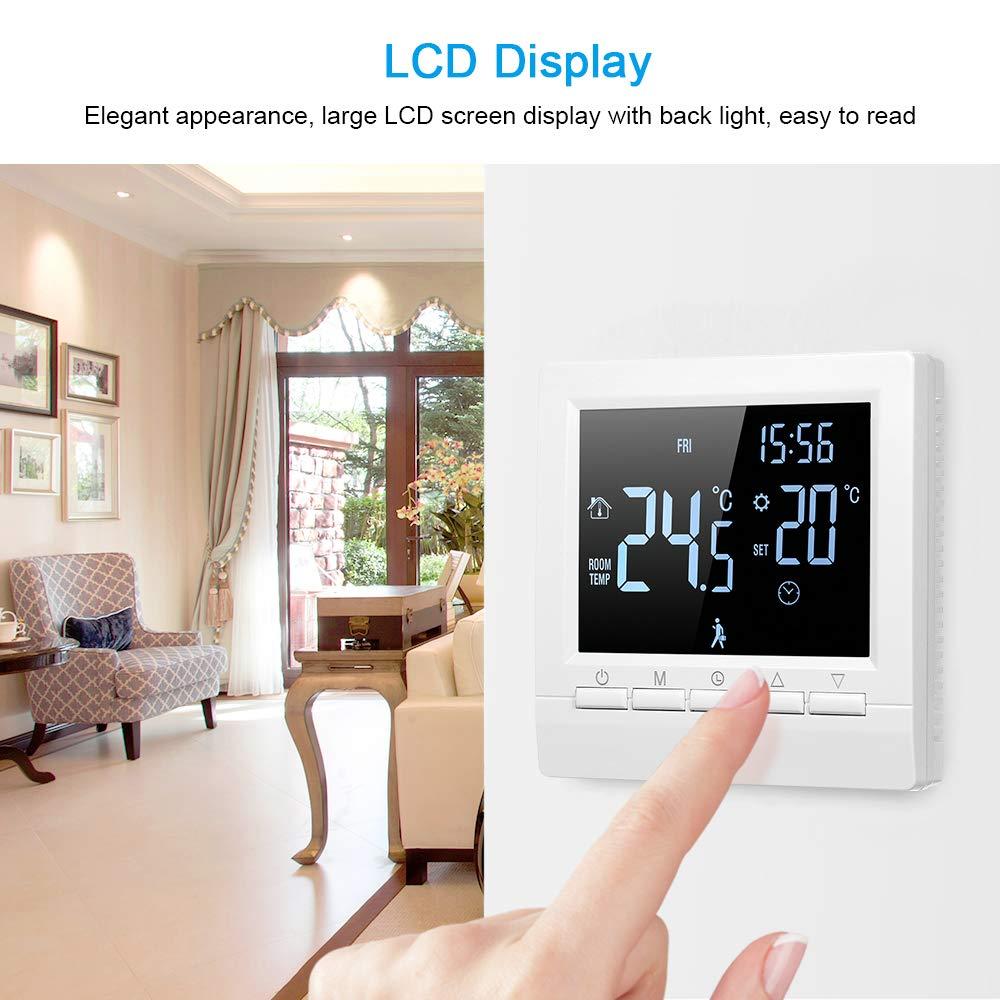 Decdeal Termostato Inteligente Controlador Digital de Temperatura Pantalla LCD T/áctil Semana Programable Termostato de Calefacci/ón de Piso El/éctrico