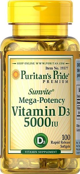 Puritans Pride Vitamina D 5000 IU 100 Cápsulas blandas: Amazon.es: Salud y cuidado personal