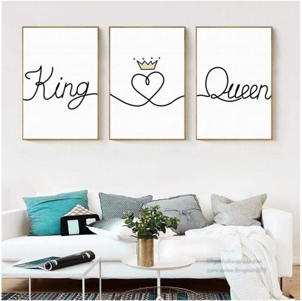 Impresión de arte de pared Nordic Black White King Queen Letters Canvas Painting Posters Modular Pictures For Bedroom Home Decor 40X50Cmx3 Pcs Sin marco