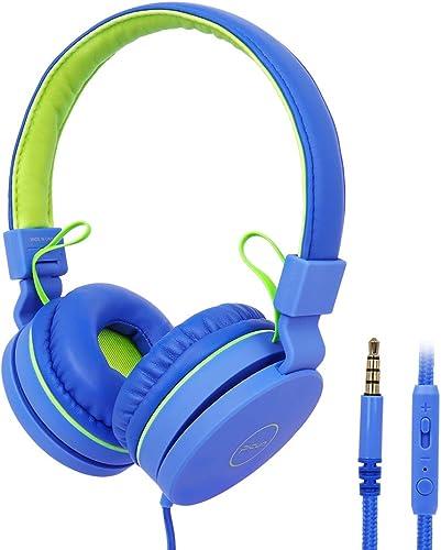 Kids Headphones, RegeMoudal Wired Kids Headphones, Volume Limited Kids On-Ear Headphones,Built-in Mic Stereo Tangle-Free 3.5MM Jack, Perfect for Children Teens Boys Girls School Kindle Tablet Blue