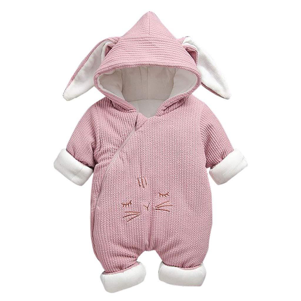 Livoral Baby-Winterjacke mit neugeborenem Kaninchenohr-Overall mit Rei/ßverschluss und Kapuze