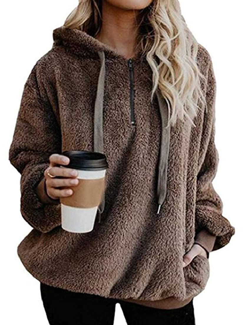 Jotebriyo Womens Oversized Sherpa Fuzzy Loose Fit Pullover Hoodies Coat Outerwear