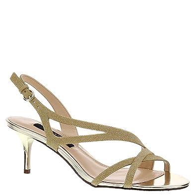 Synthetic NINA Circe Open Toe Synthetic  Slingback Heel, Platino 096058