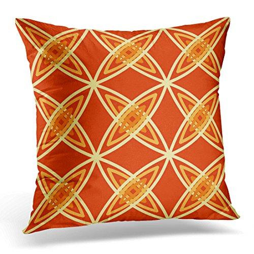 - VANMI Throw Pillow Cover Geometric Mid Century Modern Atomic Mandarin Orange Dark Decorative Pillow Case Home Decor Square 18x18 Inches Pillowcase