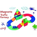 Mag-Genius 33 Piece 3D Color Magnet Race Set Includes 4 Wow Bonus Road Sign and New Magnet Toy Magnet Racing Toy Car Track Se