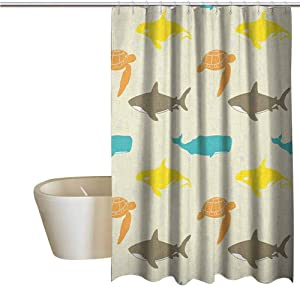 Decor Curtains Guest Bathroom Pattern with Whale Shark and Turtle Aquarium Doodle Style Marine Life 72x72 Inches