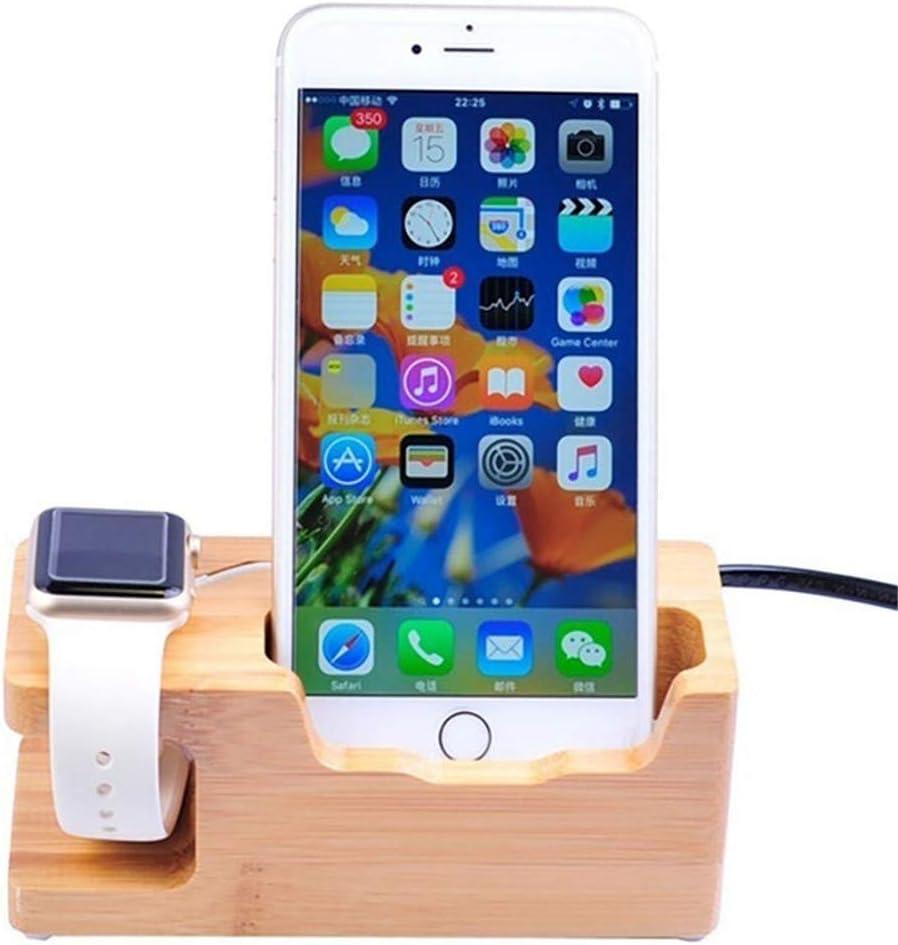 LI&muzi 3-Port USB Charger, for Apple Watch & Phone Organizer Stand Cradle Holder15w 3A Desktop Bamboo Wood Charging Station