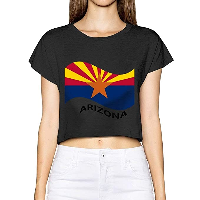 a1695e1a486 Amazon.com  Women s Juniors Arizona Flag Crop Top T-Shirt Tees Black   Clothing