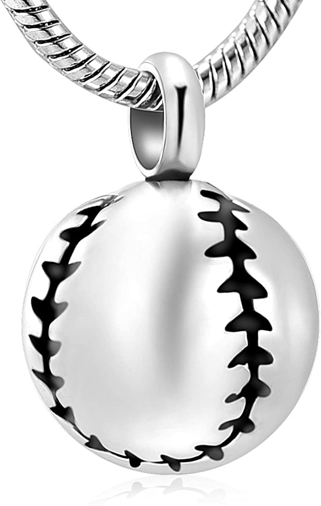 Stainless Steel 20mm Baseball Memorial Urn Jewelry Pendant Hold Cremation Keepsake Necklace for Ashes