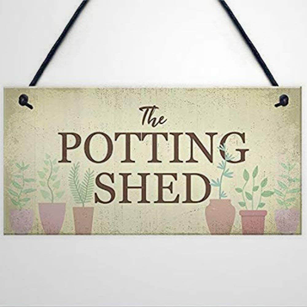 BYRON HOYLE Funny Wood Sign The Potting Shed Garden Greenhouse Dad Grandad Mum Nan Birthday Present Decorative Sign Funny Wooden Sign Wood Plaque Wall Art Wall Hanger Home Decor