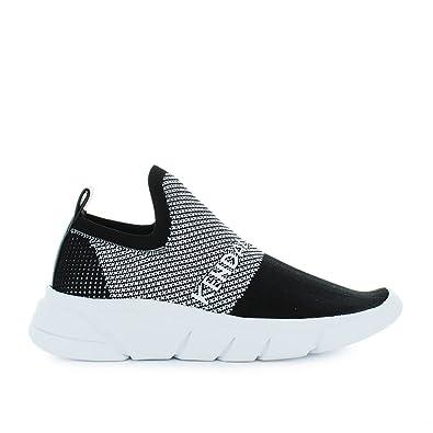 Kendall + Kylie Damen Kkcaleb01witheblk Weiss/Schwarz Stoff Slip on Sneakers Golpe1WX
