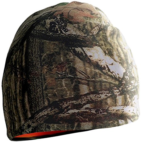 Mossy Oak Break-Up Infinity and Blaze Orange Reversible Beanie Hat, One Size ()