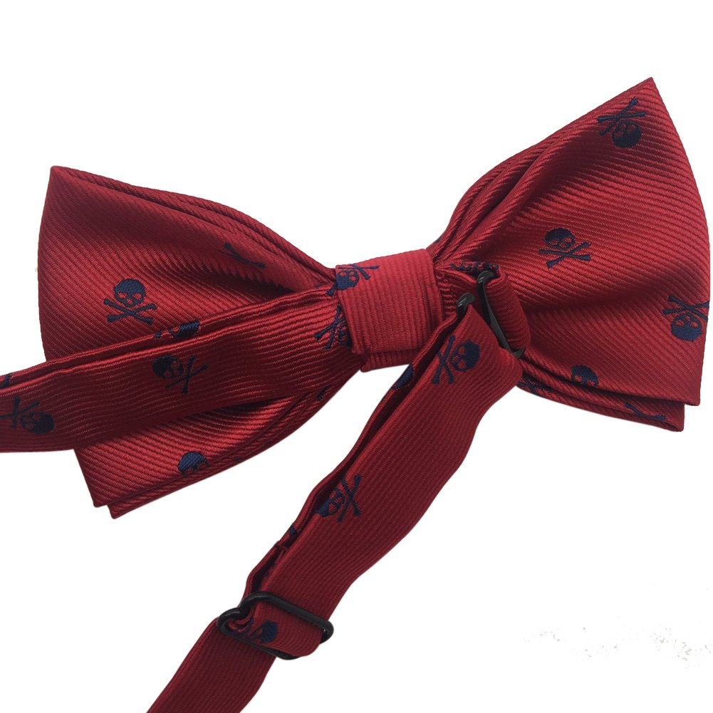 Mens Premium Pre-tied Adjustable Neck Tie Polyester Skull Pattern Bowtie Navy Blue