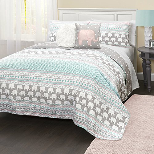 5 Piece Blue Pink Kids Animal Print Full Queen Quilt Set, Grey Pink Elephant Themed Bedding Geometric Horizontal Stripes Medallion Diamond Pattern Wild Life African Jungle Gray Polka Dot, Polyester by D&A
